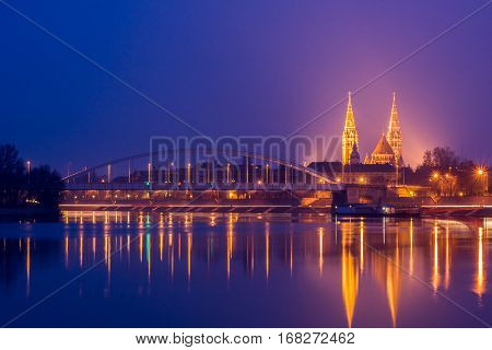 Night View Of Szeged City In Hungary