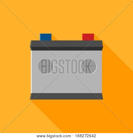 car battery icon isolated on yellow. Colored vector flat illustration for web site, mobile app. Charger, recycling battery, auto service, accumulator sign with long shadow