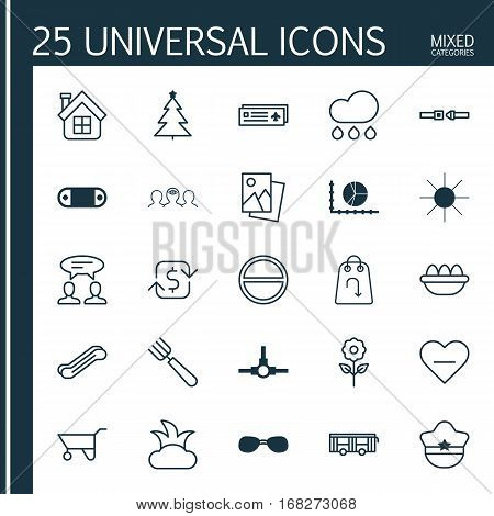 Set Of 25 Universal Editable Icons. Can Be Used For Web, Mobile And App Design. Includes Elements Such As Residential, Garden Fork, Sunshine And More.