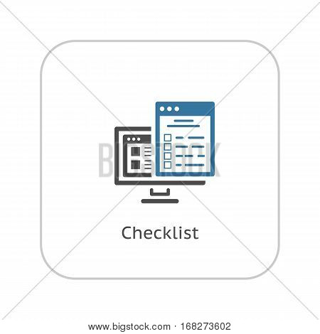 Checklist Icon. Business and Marketing. Isolated Illustration. PC Monitor and Web Page with text and check box.