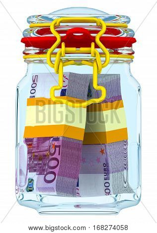 Closed glass jar with bundles of euro. Closed glass jar for canning with bundles of european currency. Financial concept. Isolated. 3D Illustration