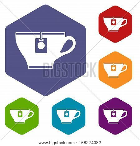 Cup with teabag icons set rhombus in different colors isolated on white background