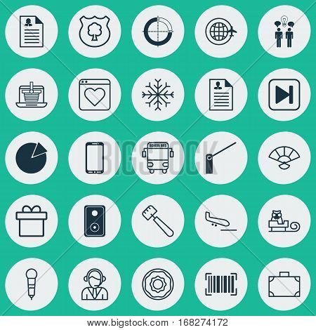 Set Of 25 Universal Editable Icons. Can Be Used For Web, Mobile And App Design. Includes Elements Such As Roadblock, Transport Vehicle, E-Trade And More.