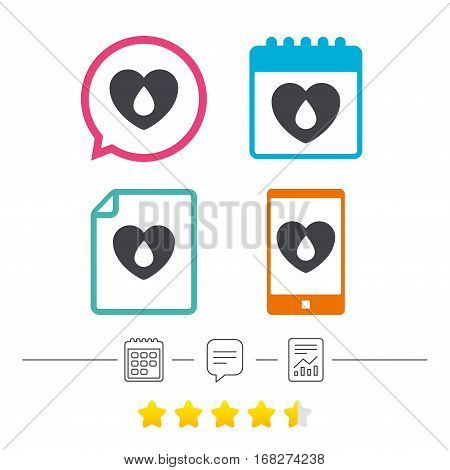 Blood donation sign icon. Medical donation. Heart with blood drop. Calendar, chat speech bubble and report linear icons. Star vote ranking. Vector