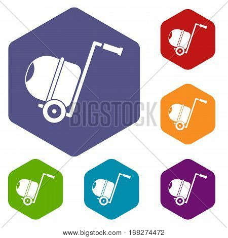 Concrete mixer icons set rhombus in different colors isolated on white background