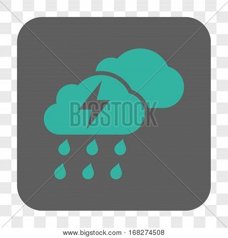 Thunderstorm Clouds interface toolbar button. Vector icon style is a flat symbol on a rounded square button cyan and gray colors chess transparent background.