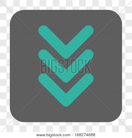 Triple Arrowhead Down interface toolbar button. Vector icon style is a flat symbol inside a rounded square button cyan and gray colors chess transparent background.