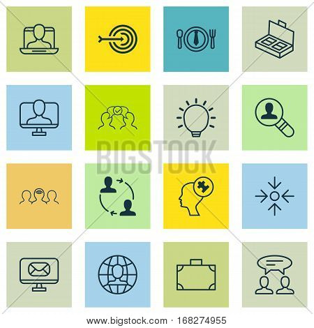Set Of 16 Business Management Icons. Includes Social Profile, Human Mind, Great Glimpse And Other Symbols. Beautiful Design Elements.
