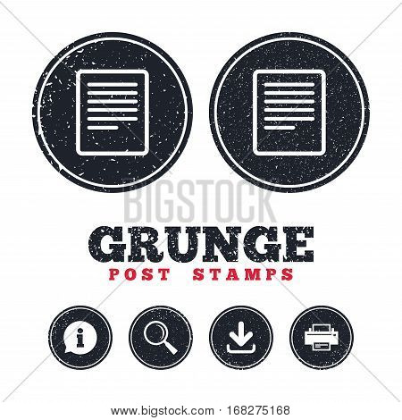 Grunge post stamps. Text file sign icon. File document symbol. Information, download and printer signs. Aged texture web buttons. Vector