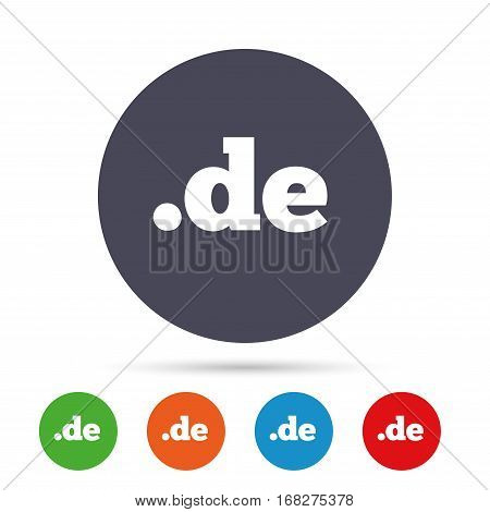 Domain DE sign icon. Top-level internet domain symbol. Round colourful buttons with flat icons. Vector