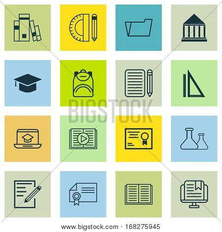 Set Of 16 School Icons. Includes Certificate, Distance Learning, Measurement And Other Symbols. Beautiful Design Elements.