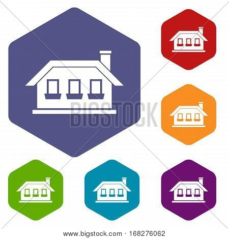 One-storey house with three windows icons set rhombus in different colors isolated on white background