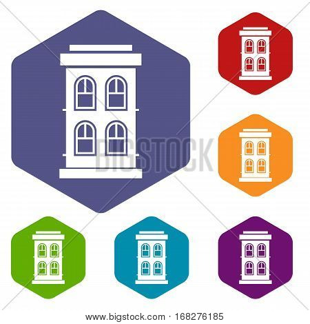 Two-storey house with large windows icons set rhombus in different colors isolated on white background
