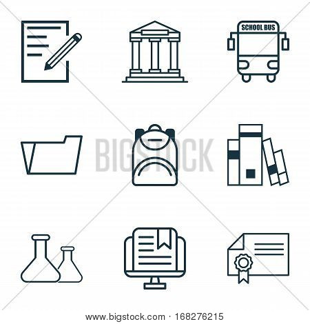 Set Of 9 Education Icons. Includes Transport Vehicle, Haversack, Document Case And Other Symbols. Beautiful Design Elements.