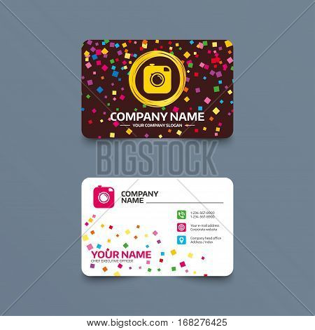 Business card template with confetti pieces. Hipster photo camera sign icon. Retro camera symbol. Phone, web and location icons. Visiting card  Vector