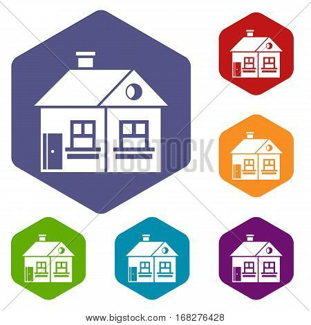Large single-storey house icons set rhombus in different colors isolated on white background