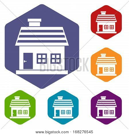 One-storey house icons set rhombus in different colors isolated on white background