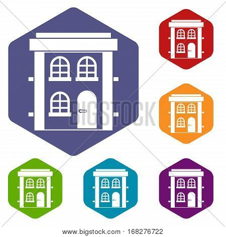 Two-storey residential house icons set rhombus in different colors isolated on white background