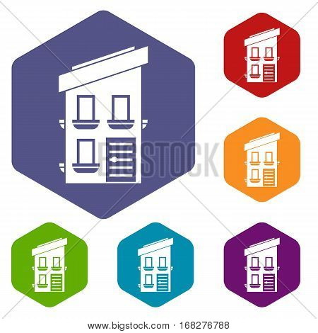 Two-storey house icons set rhombus in different colors isolated on white background