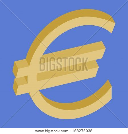 Euro symbol on a blue background- vector illustration