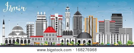 Izmir Skyline with Gray Buildings and Blue Sky. Business Travel and Tourism Concept with Modern Architecture. Image for Presentation Banner Placard and Web Site.