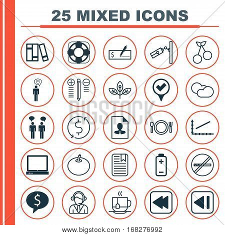 Set Of 25 Universal Editable Icons. Can Be Used For Web, Mobile And App Design. Includes Elements Such As Cv, Stop Smoke, Operator And More.