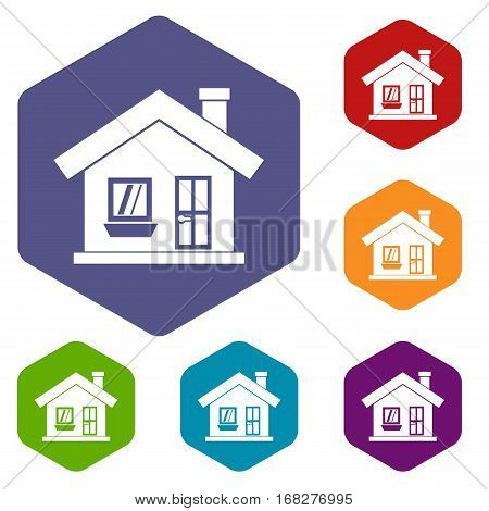 One-storey house with a chimney icons set rhombus in different colors isolated on white background