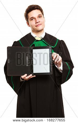 Young Male Lawyer Hold Tablet Computer.