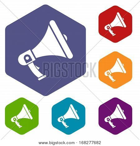 Megaphone icons set rhombus in different colors isolated on white background