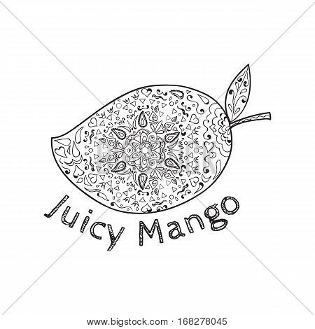 Mandala style illustration of a mango a juicy tropical stone fruit drupe belonging to the genus Mangifera set on isolated white background with the word text Juicy Mango done in black and white.
