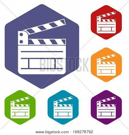 Clapperboard icons set rhombus in different colors isolated on white background