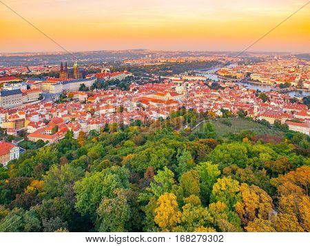 Prague city panorama with castle, Lesser Town and Vltava River. Shot from Petrin lookout tower, Czech Republic, Europe.