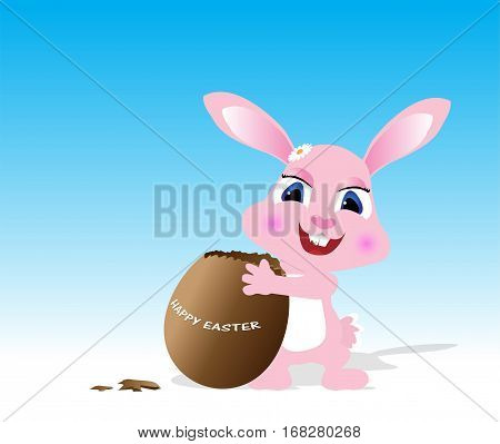 Easter greeting card with rabbit and chocolate egg