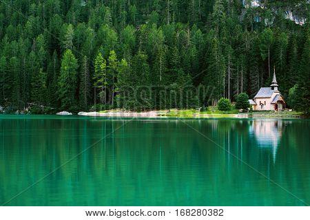 Braies Lake In Dolomites Mountains