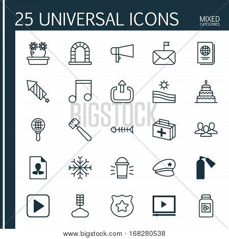 Set Of 25 Universal Editable Icons. Can Be Used For Web, Mobile And App Design. Includes Elements Such As Significant Letter, Identification Document, Spatula And More.