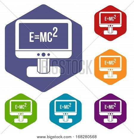 Monitor with Einstein formula icons set rhombus in different colors isolated on white background