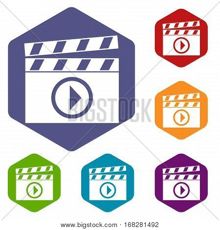 Clapperboard for movie shooting icons set rhombus in different colors isolated on white background