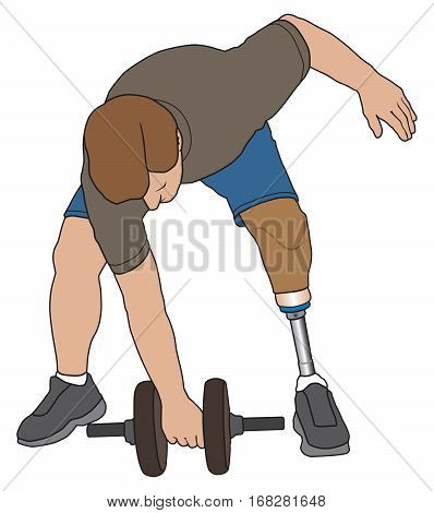 Left leg amputee is working out with a dumbbell