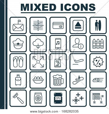 Set Of 25 Universal Editable Icons. Can Be Used For Web, Mobile And App Design. Includes Elements Such As Ale, Lemon Juice, Airliner Takeoff And More.