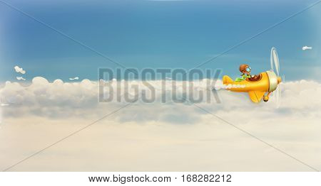 Rush after own dream, funny cartoon aviator in the sky. Raster copy