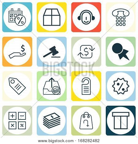 Set Of 16 Commerce Icons. Includes Box, Rich, Cardboard And Other Symbols. Beautiful Design Elements.