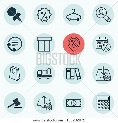 Set Of 16 E-Commerce Icons. Includes Discount Location, Box, Spectator And Other Symbols. Beautiful Design Elements.