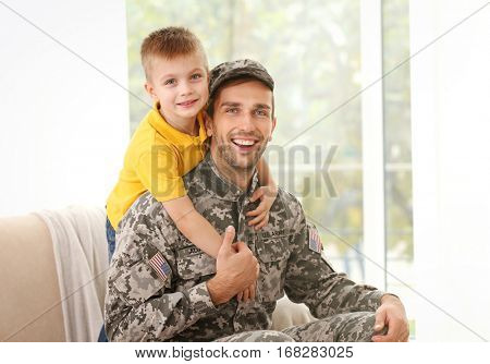 Soldier reunited with his family