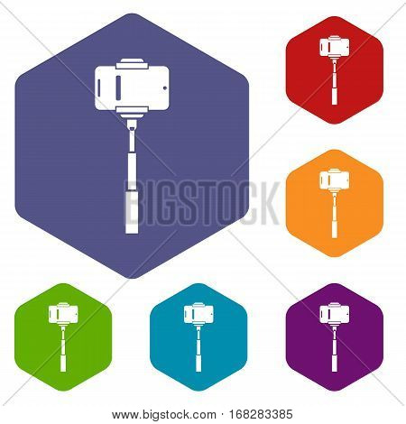 Mobile phone on a selfie stick icons set rhombus in different colors isolated on white background