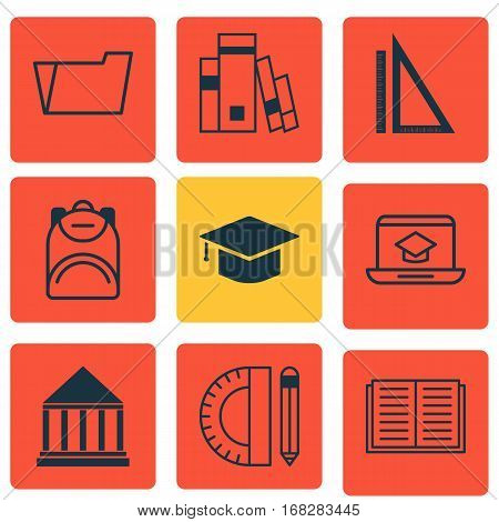 Set Of 9 Education Icons. Includes Document Case, Haversack, Measurement And Other Symbols. Beautiful Design Elements.