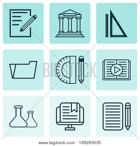 Set Of 9 Education Icons. Includes E-Study, Measurement, Education Tools And Other Symbols. Beautiful Design Elements.