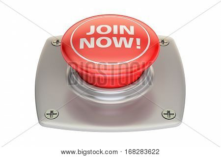 Join Now Red button 3D rendering isolated on white background