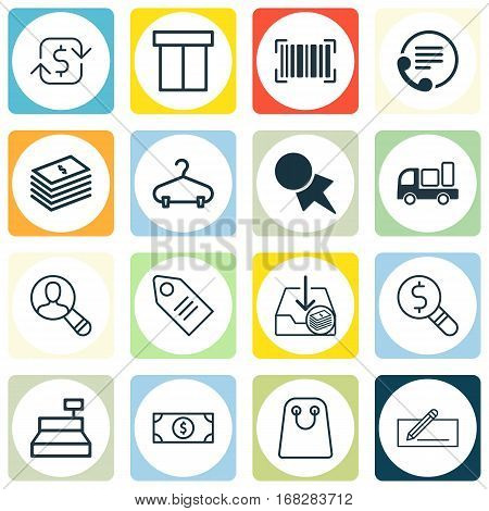 Set Of 16 Commerce Icons. Includes Spectator, Money Transfer, Box And Other Symbols. Beautiful Design Elements.