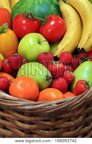 Wicker Basket filled with fresh fruit.
