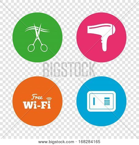 Hotel services icons. Wi-fi, Hairdryer and deposit lock in room signs. Wireless Network. Hairdresser or barbershop symbol. Round buttons on transparent background. Vector